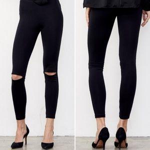 Pants - Brand-New Black Split Knee Leggings